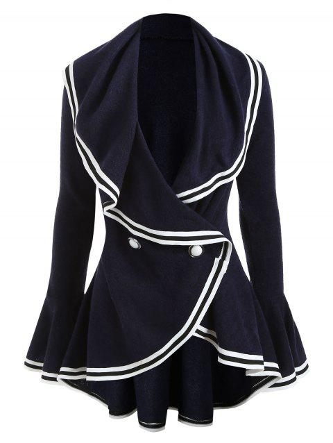 Color Block Asymmetric Ruffle Coat - CADETBLUE L