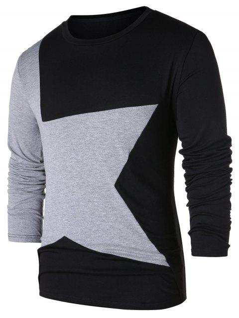 Star Pattern Contrast Color T-shirt - BLACK M