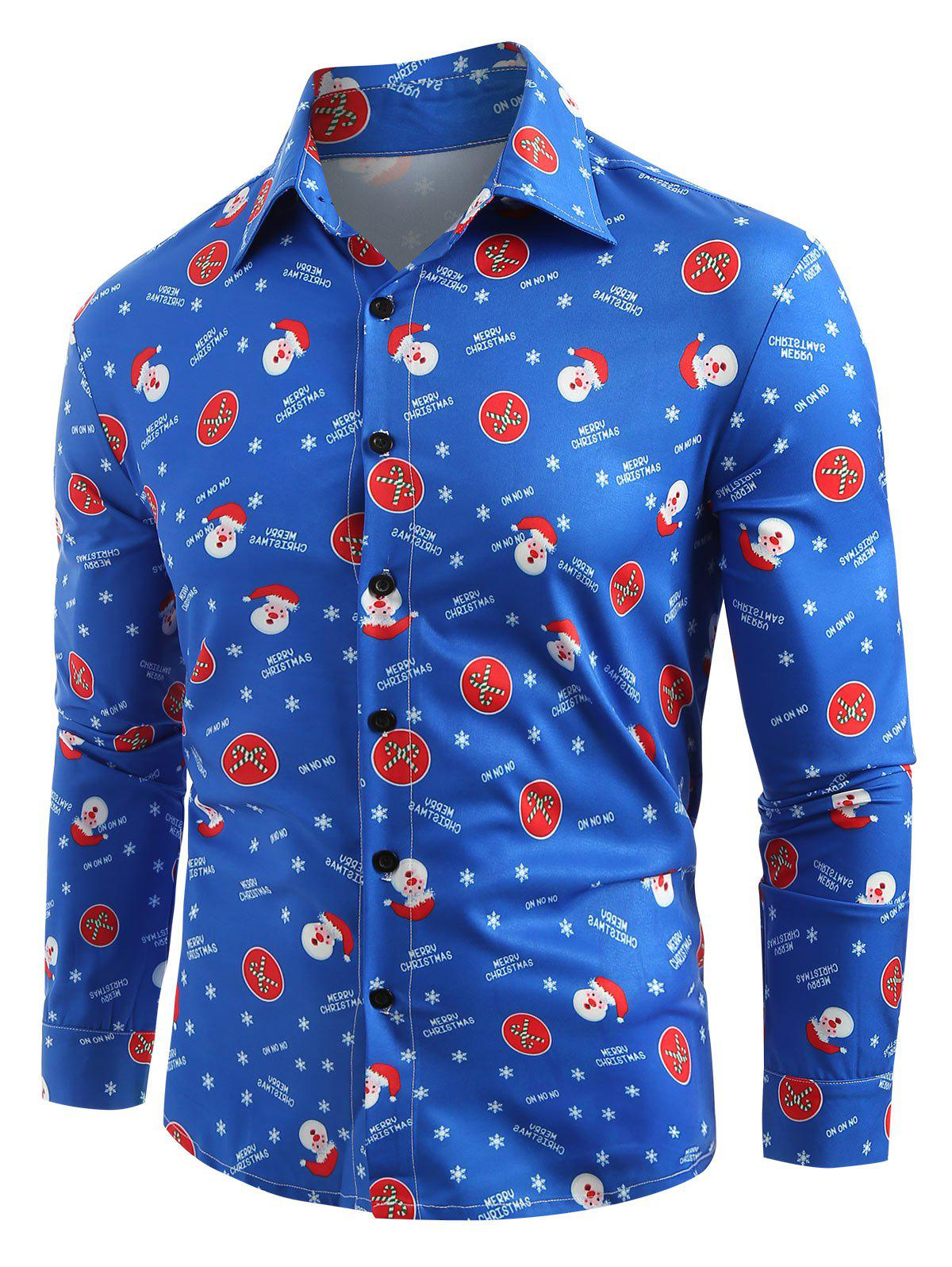 Santa Claus Printed Christmas Long Sleeves Shirt - OCEAN BLUE L