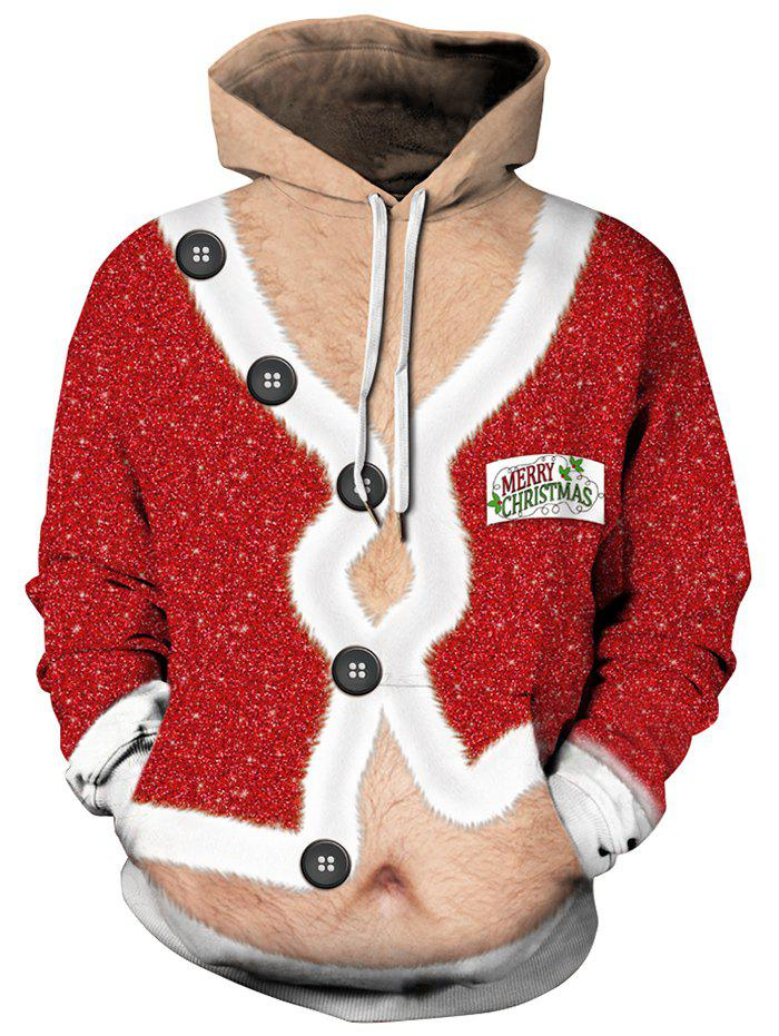Christmas Coat Print Drawstring Hoodie - multicolor 3XL