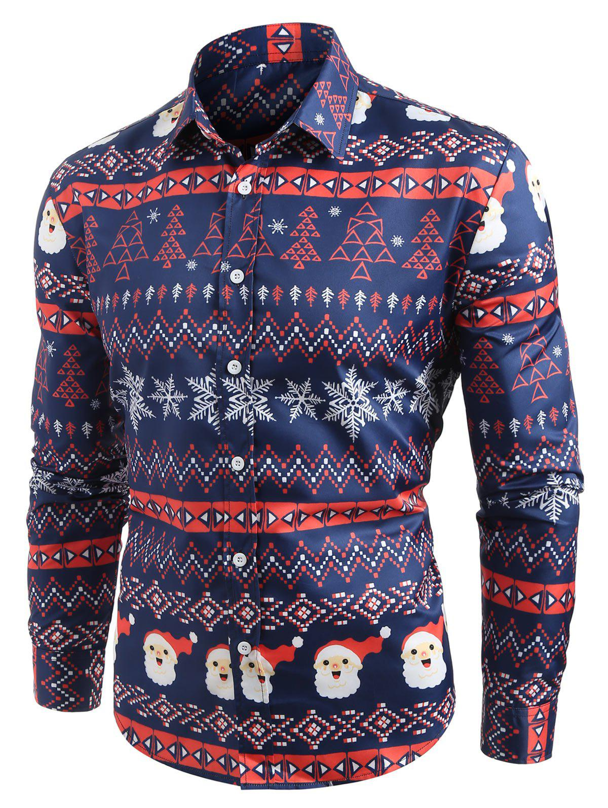 Christmas Graphic Pattern Long Sleeves Shirt - LAPIS BLUE L