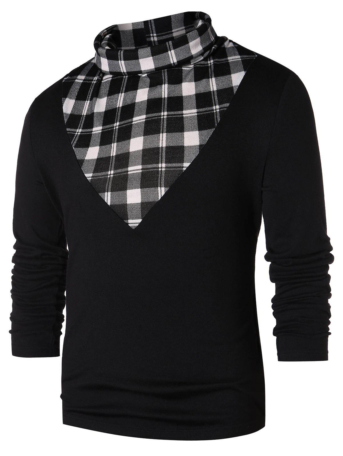 Checked Panel Turtle Neck T-shirt - BLACK 2XL