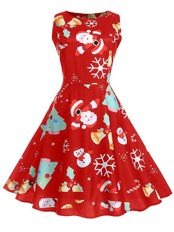 Christmas Vintage Print Fit and Flare Dress фото