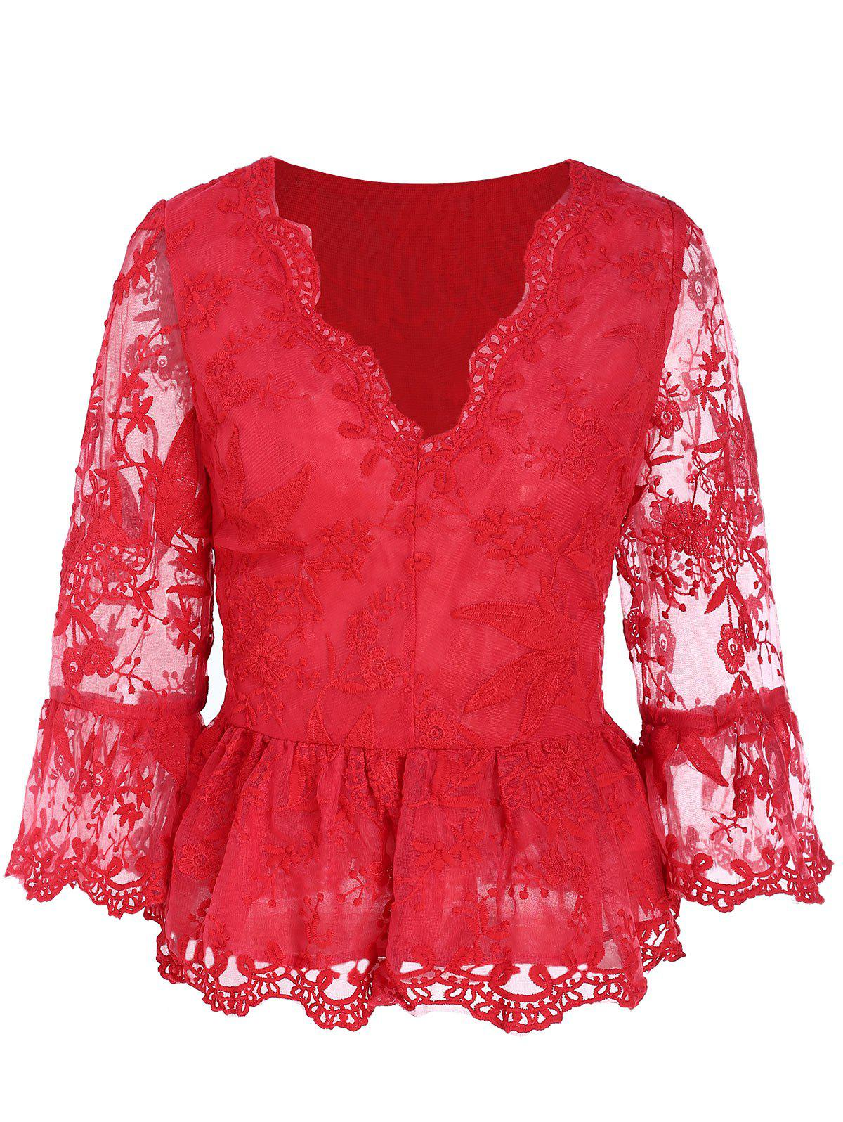 Flare Sleeve Plunge Lace Blouse - RED M