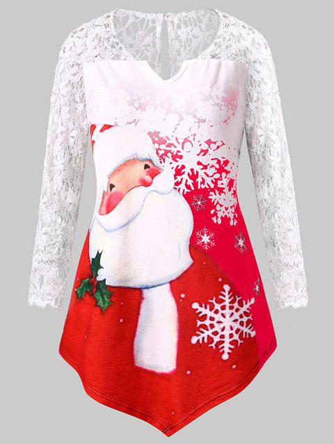 Christmas Plus Size Santa Claus Print Lace Panel Tee - RED 1X