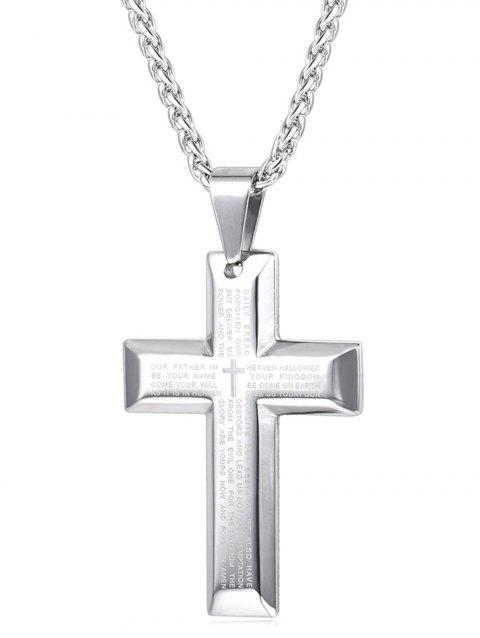 Stainless Steel Letter Print Cross Necklace - SILVER