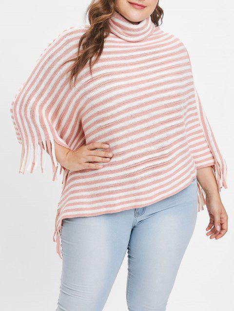 13c3f5dd4cd LIMITED OFFER  2019 Cowl Neck Plus Size Striped Panel Asymmetrical ...