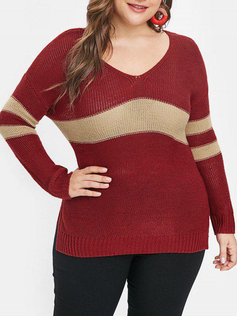 be3de365bab LIMITED OFFER  2019 Plus Size Striped Panel Chunky Sweater In ...