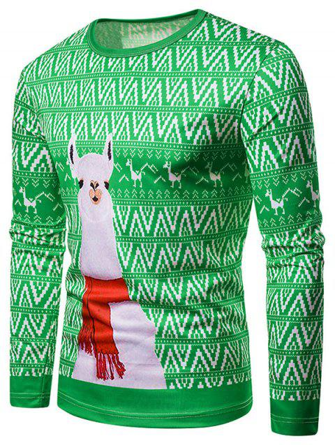 Crew Neck Christmas Alpaca Printed T-shirt - CLOVER GREEN M