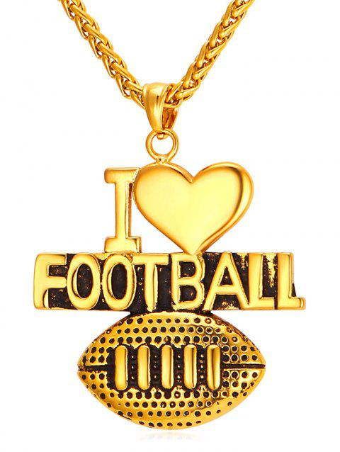 American Football Letter Heart Shape Pendant Necklace - GOLD