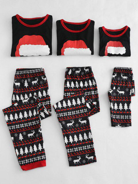 Christmas Hat Printed Family Pajamas Sets - BLACK DAD  XL
