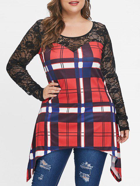 Plus Size Lace Panel Plaid Long Sleeves Tee