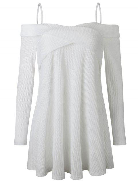 a6c97d4e46b 42% OFF  2019 Spaghetti Strap Crisscross Tunic Sweater In WHITE ...