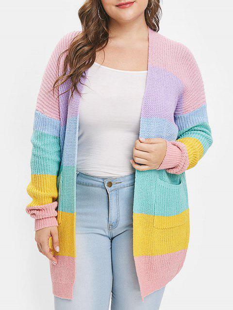 2c5681ae511 LIMITED OFFER  2019 Drop Shoulder Rainbow Striped Panel Plus Size ...