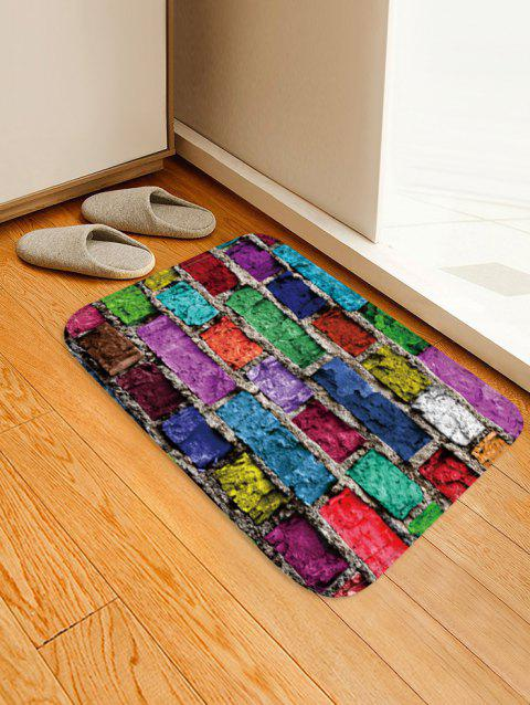 Colorful Brick Wall Pattern Water Absorption Floor Rug - multicolor W20 X L31.5 INCH