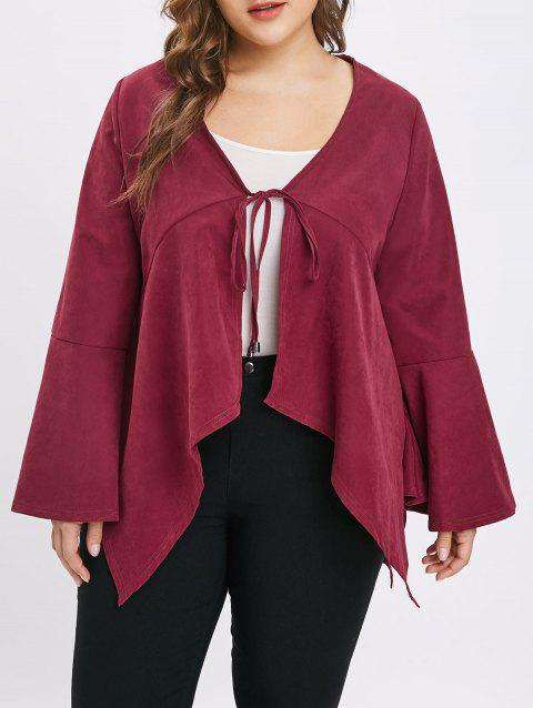 Plus Size Asymmetric Flare Sleeves Tie Coat - RED WINE 1X