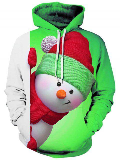 Snowman 3D Print Kangaroo Pocket Christmas Hoodie - YELLOW GREEN L