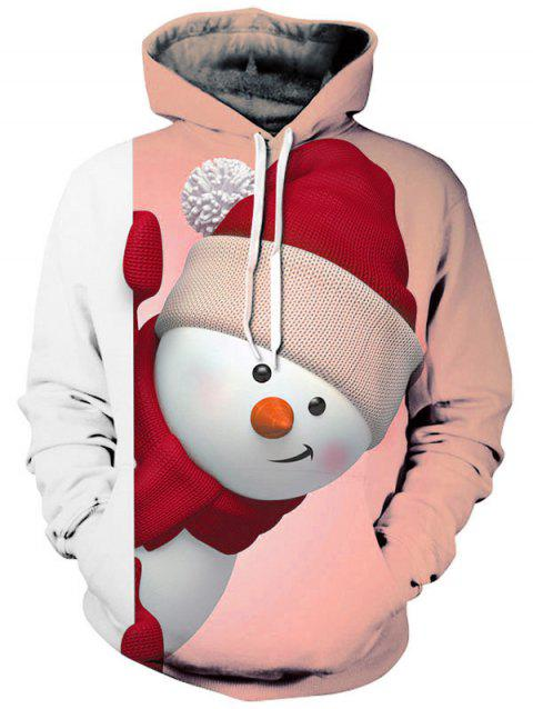 Snowman 3D Print Kangaroo Pocket Christmas Hoodie - ORANGE PINK 2XL