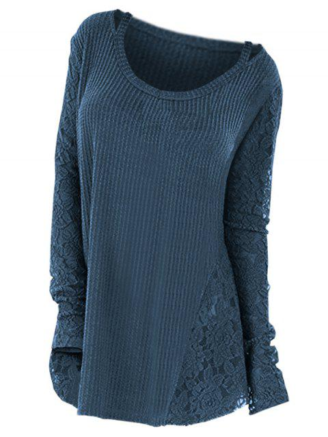 Plus Size Long Sleeves Lace Panel Cutout Tee - PEACOCK BLUE L