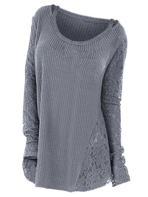 Plus Size Long Sleeves Lace Panel Cutout Tee - GRAY 2X