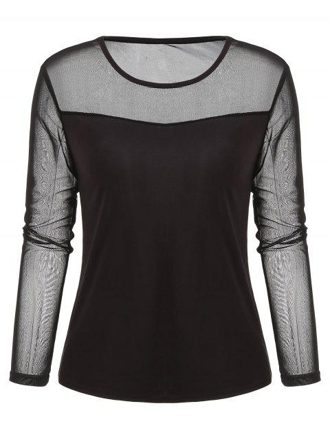 164f9d95 41% OFF] 2019 Breathable Mesh Panel Long Sleeve T-shirt In BLACK ...