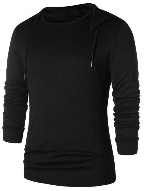 Drawstring Solid Long Sleeve Hoodie - BLACK M