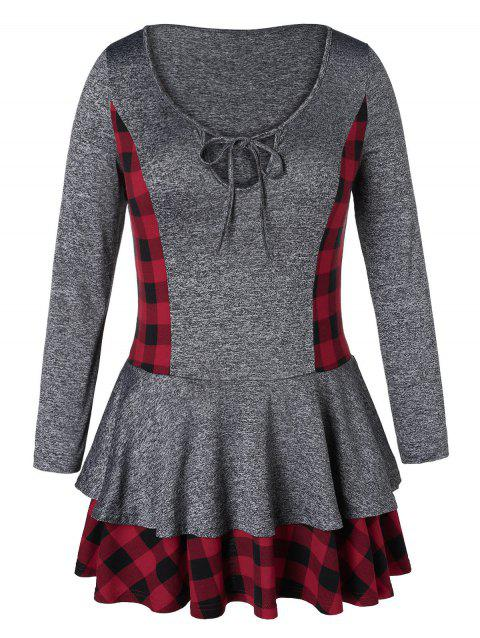 Plus Size Plaid Layered Marled T-shirt - CARBON GRAY 1X