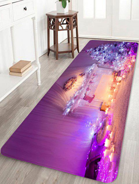 Christmas Tree Candle Printed Non-slip Area Rug - PURPLE W16 X L47 INCH