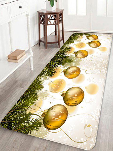 Christmas Ball Snowflake Printed Non-slip Area Rug - GOLDEN BROWN W16 X L47 INCH