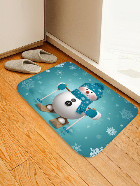 Christmas Snowman Snowflake Pattern Water Absorption Floor Rug - multicolor W16 X L24 INCH