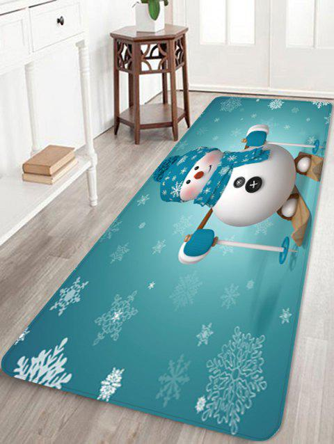 Christmas Snowman Snowflake Pattern Water Absorption Floor Rug - multicolor W16 X L47 INCH