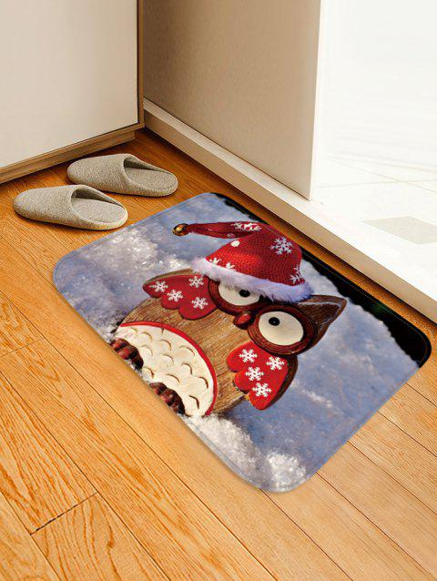 Christmas Owl Pattern Water Absorption Area Rug - multicolor W20 X L31.5 INCH