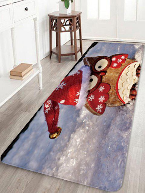 Christmas Owl Pattern Water Absorption Area Rug - multicolor W24 X L71 INCH