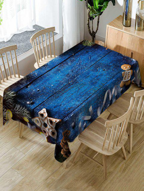 Christmas Wooden Printed Fabric Waterproof Table Cloth - BLUEBERRY BLUE W54 X L54 INCH