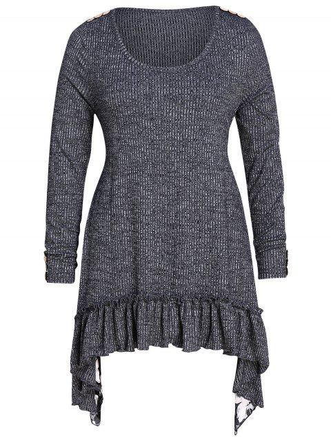 Plus Size Flounced Asymmetrical Marled Knitwear - ASH GRAY 4X