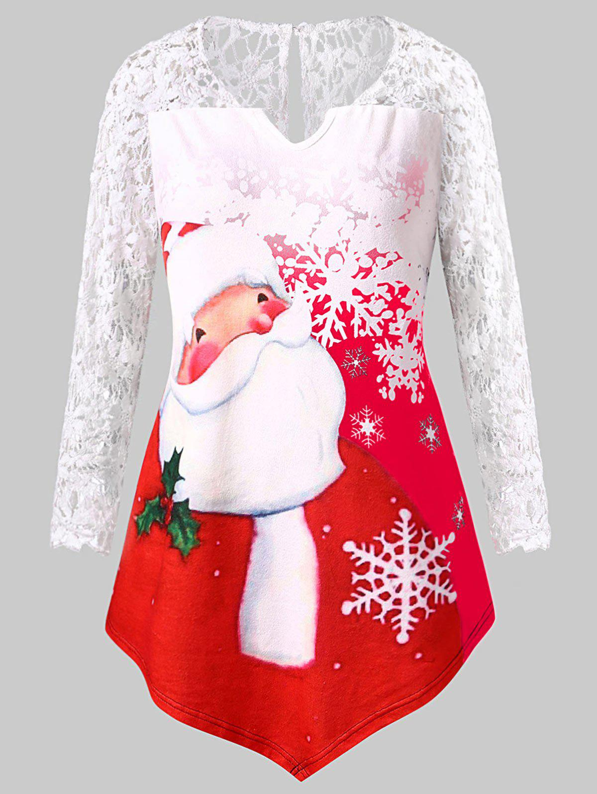 Christmas Plus Size Santa Claus Print Lace Panel Tee - RED L