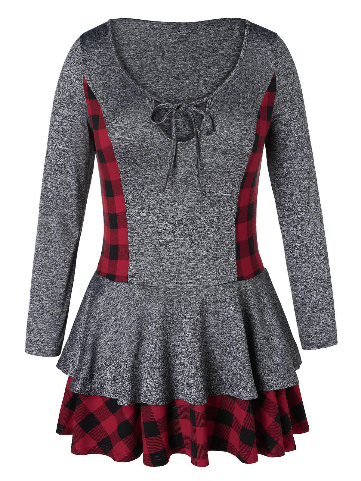 Plus Size Plaid Layered Marled T-shirt
