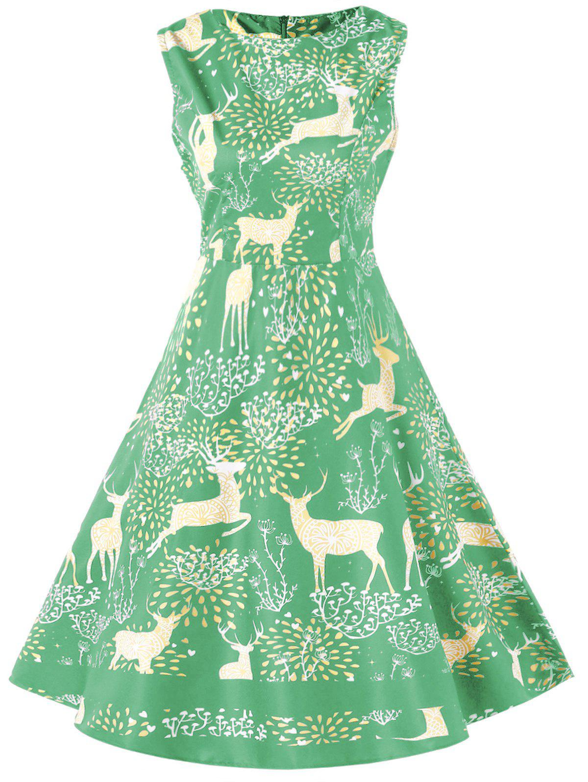 Elk Print Vintage Christmas Dress - AQUAMARINE 2XL