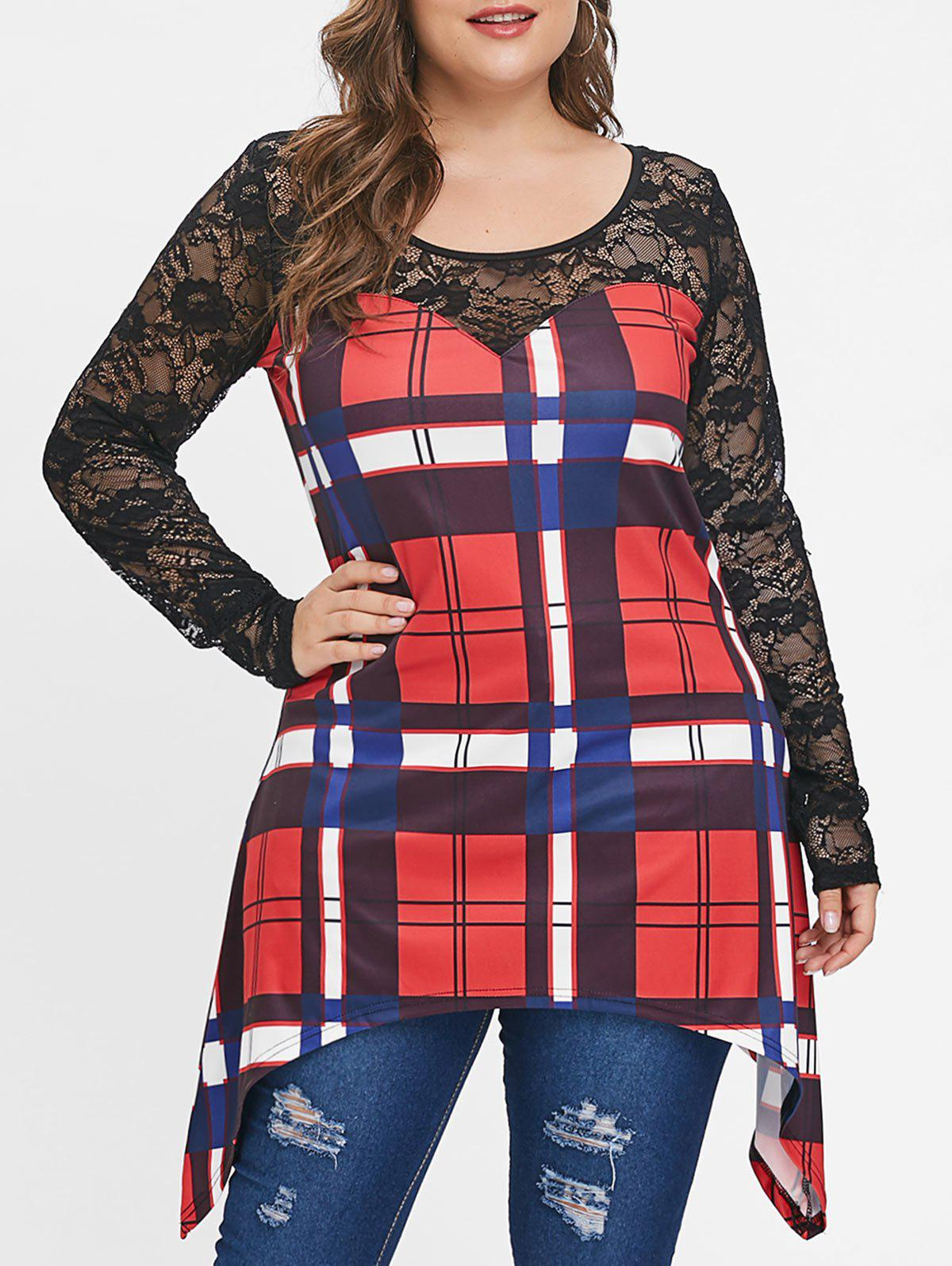 Plus Size Lace Panel Plaid Long Sleeves Tee - RED 2X