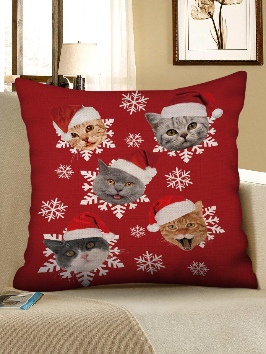 Christmas Hat Cat Snowflake Print Pillowcase - CHERRY RED W18 X L18 INCH