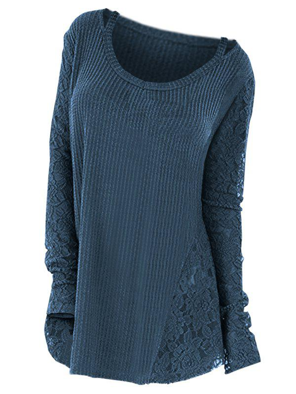 Plus Size Long Sleeves Lace Panel Cutout Tee - PEACOCK BLUE 4X