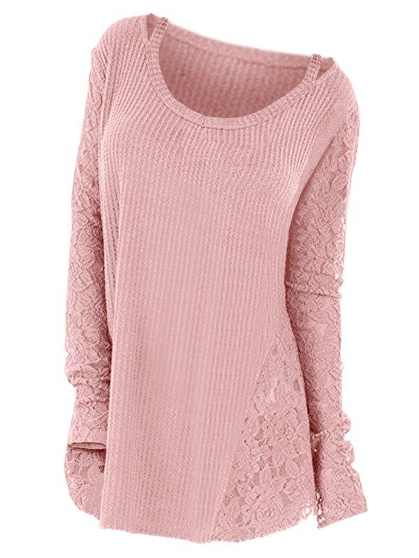 Plus Size Long Sleeves Lace Panel Cutout Tee - PINK 1X