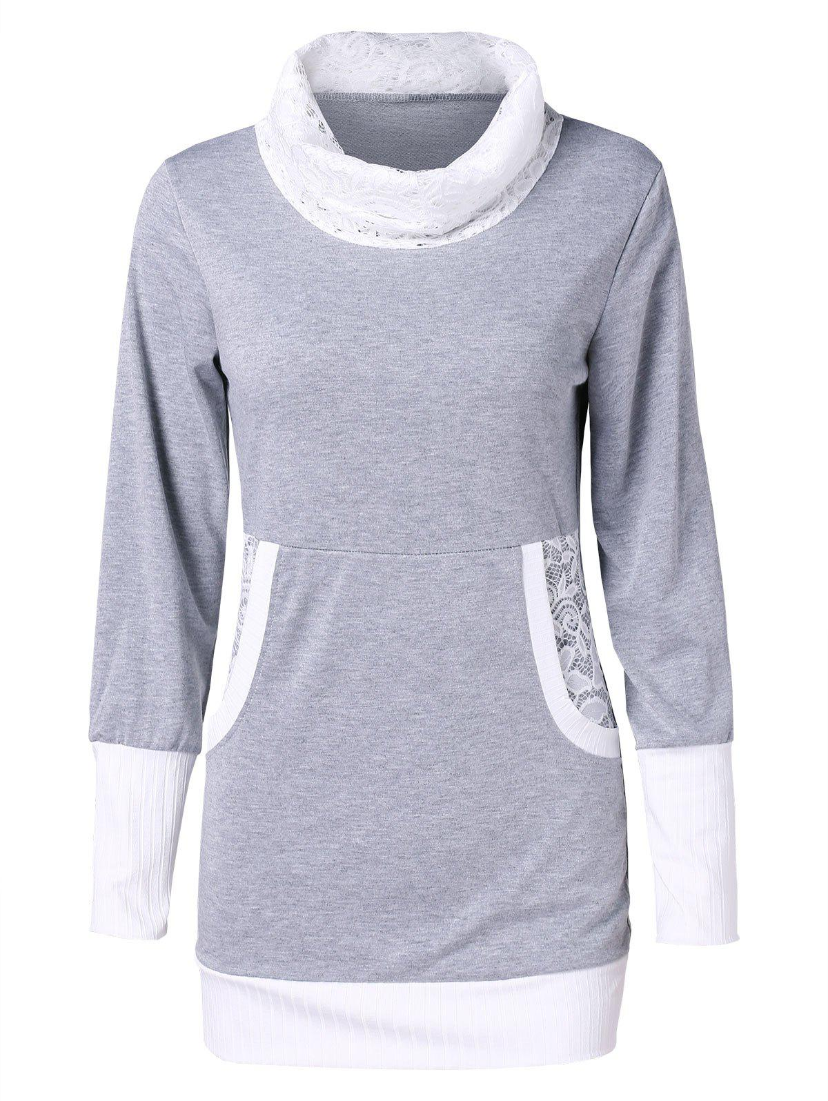 Two Tone Lace Insert Front Pockets Turtleneck Sweatshirt - GRAY L