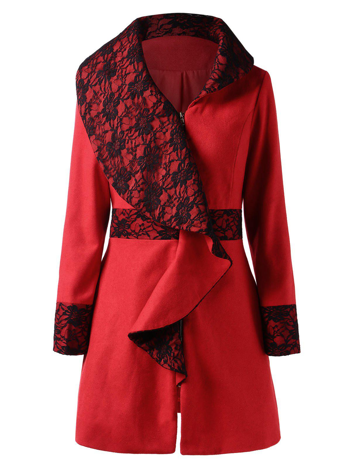 Lace Panel Cascading Ruffled Wool Coat - RED 2XL