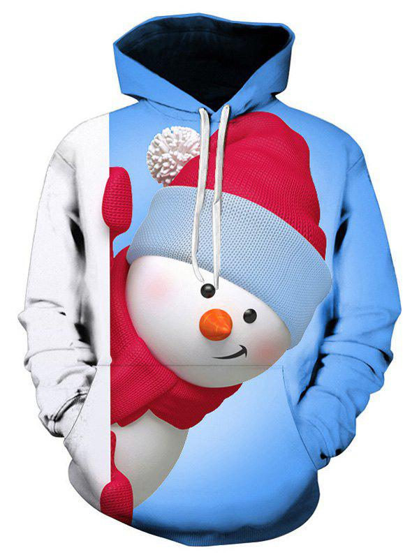 Snowman 3D Print Kangaroo Pocket Christmas Hoodie - CRYSTAL BLUE 2XL