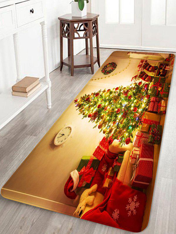 Christmas Tree Gift Printed Non-slip Area Rug - RED W16 X L47 INCH