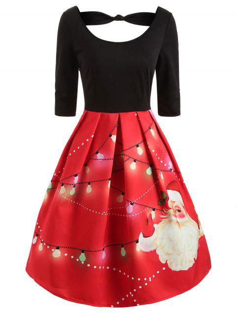 Knotted Christmas Santa Print Vintage Dress - RED M