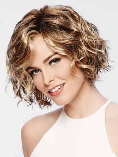 Short Side Bang Colormix Natural Wavy Party Synthetic Wig - multicolor