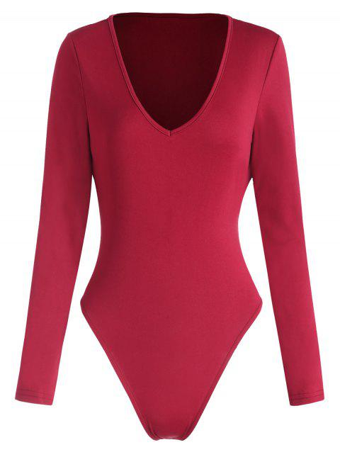 V Neck Button Bodysuit - RED L