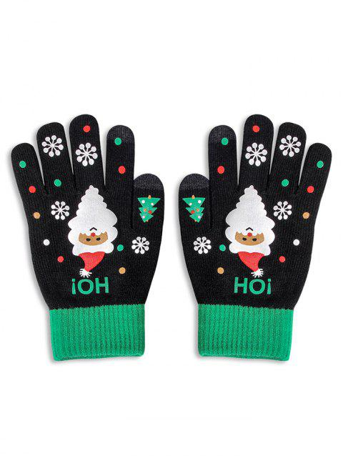 Christmas Santa Claus Knitted Touch Screen Gloves - BLACK